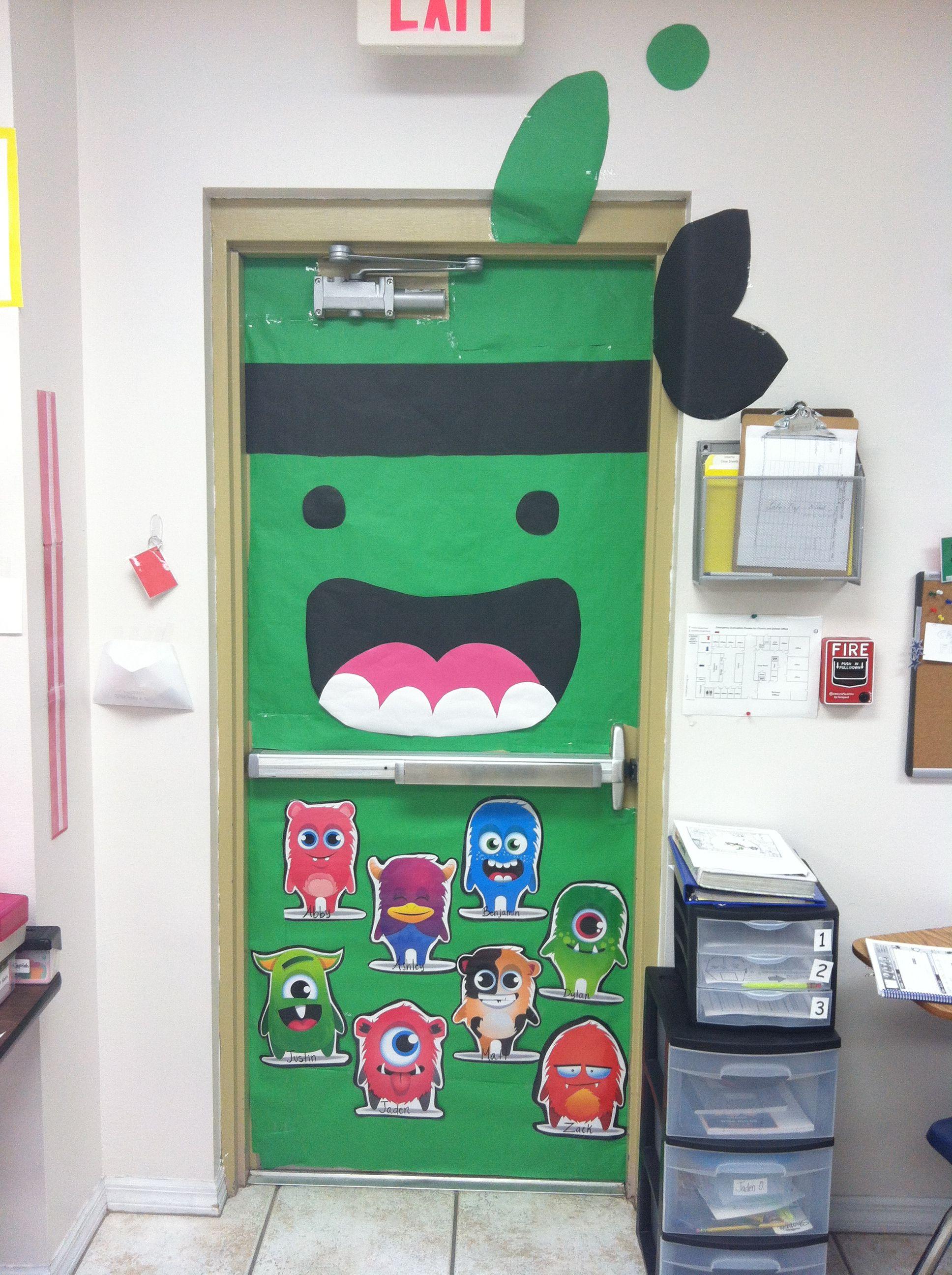Monster Classroom Decor : Class dojo green ninja teacher monster classroom door