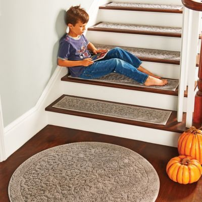 Made Of Soft Cotton, Our Rowan Embossed Washable Stair Treads Have A  Slip Resistant Backing That Helps Keep Them In Place. Use These Stylish  Rowan Embossed ...