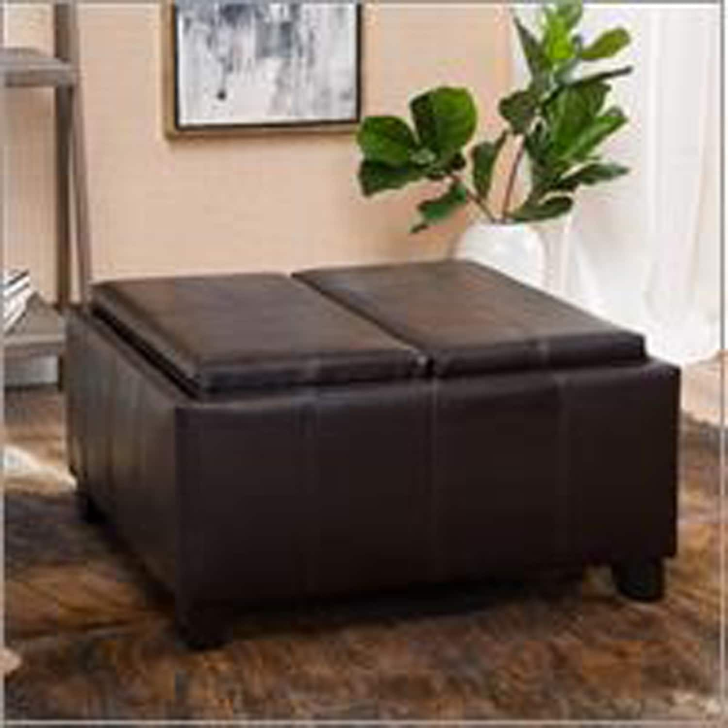 Westerfield Brown Tray Top Storage Ottoman Leather Ottoman