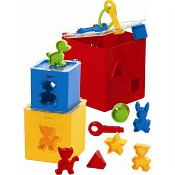 Shape sorter and nesting blocks with keys