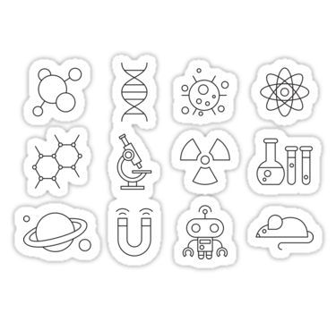 Science Line Icons Sticker By Simbamerch Science Stickers Printable Stickers Aesthetic Stickers