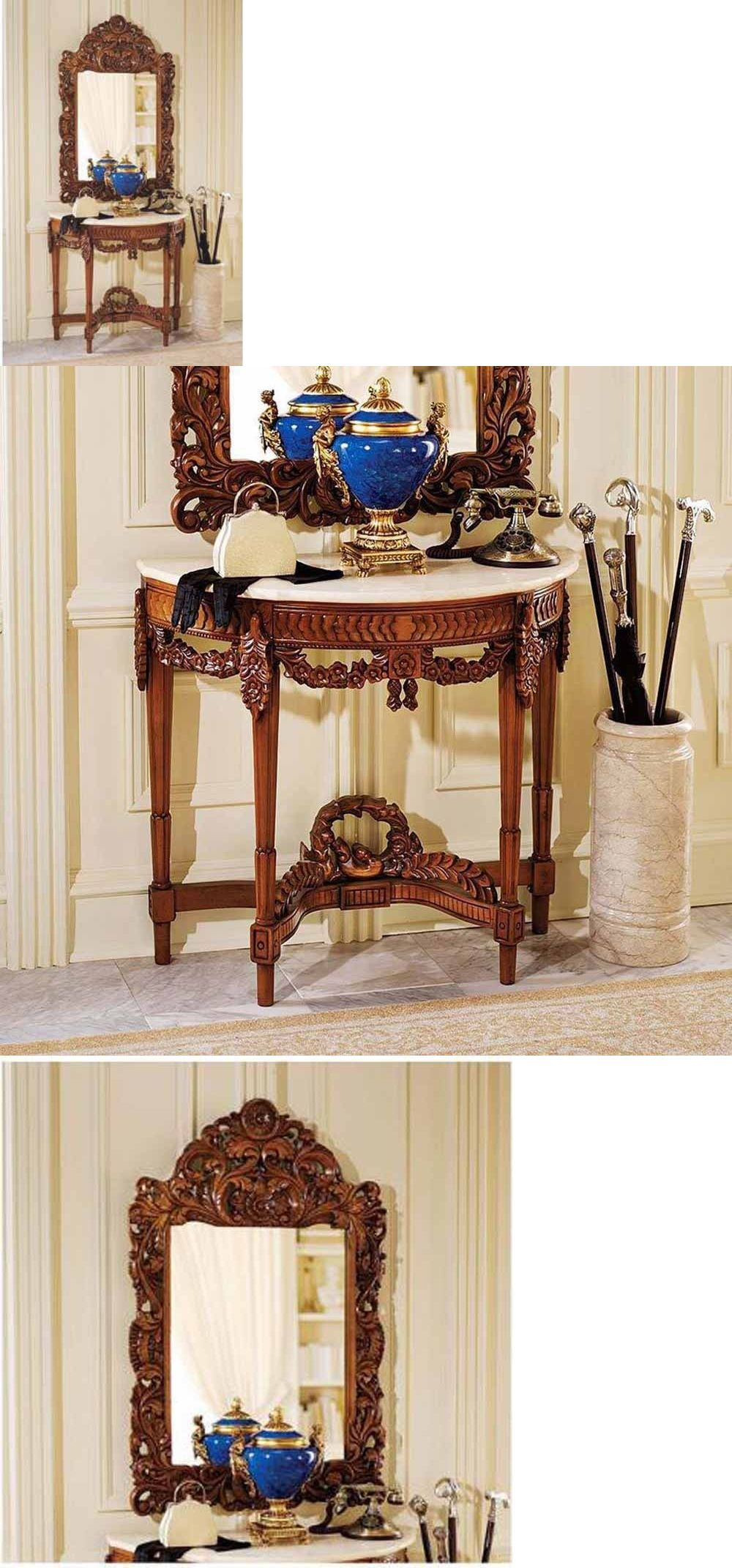 Antiques antique french replica hand carved wooden console table antiques antique french replica hand carved wooden console table marble top and mirror set geotapseo Gallery