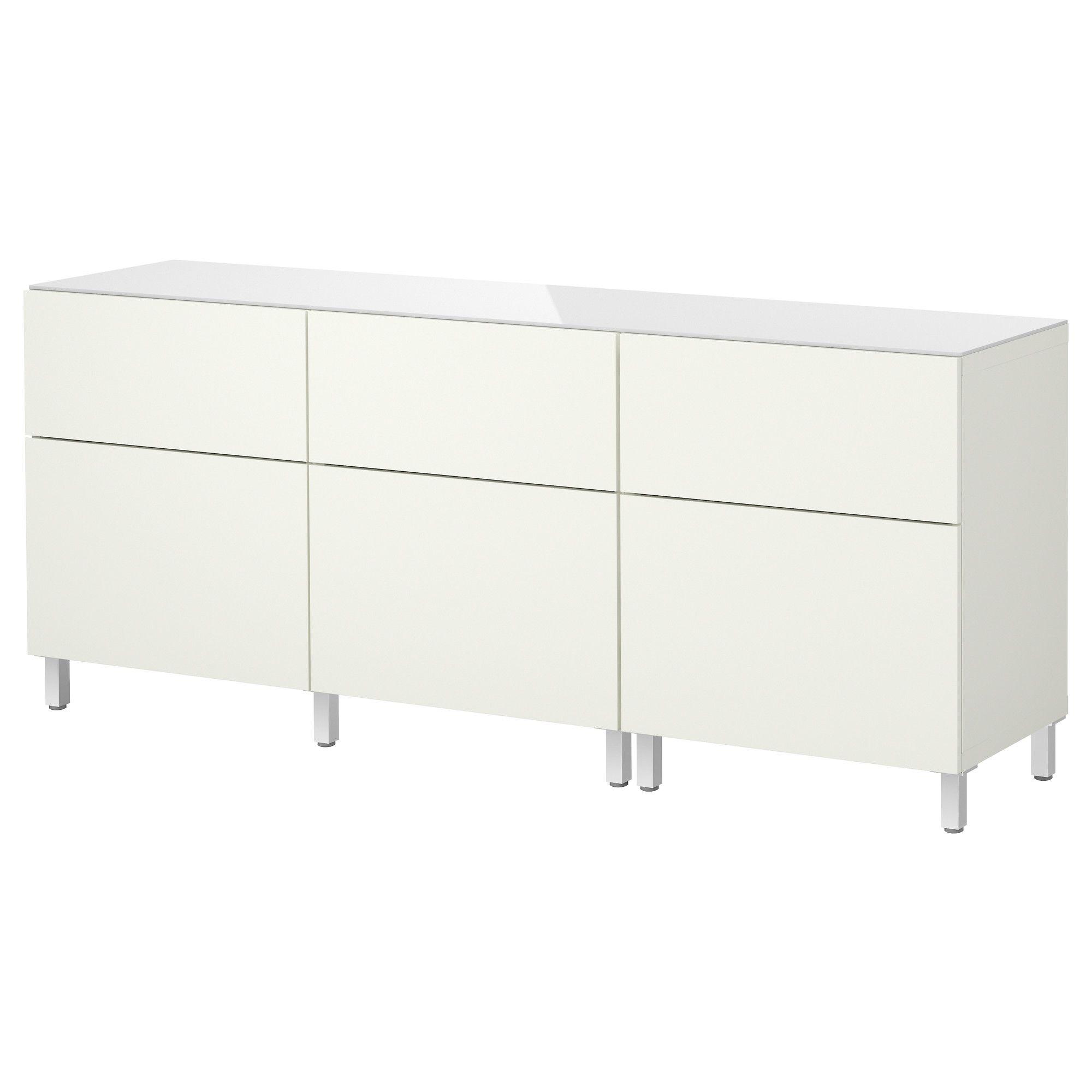 BESTÅ Opbevaringskom døre/skuffer - hvid/højglans hvid - IKEA