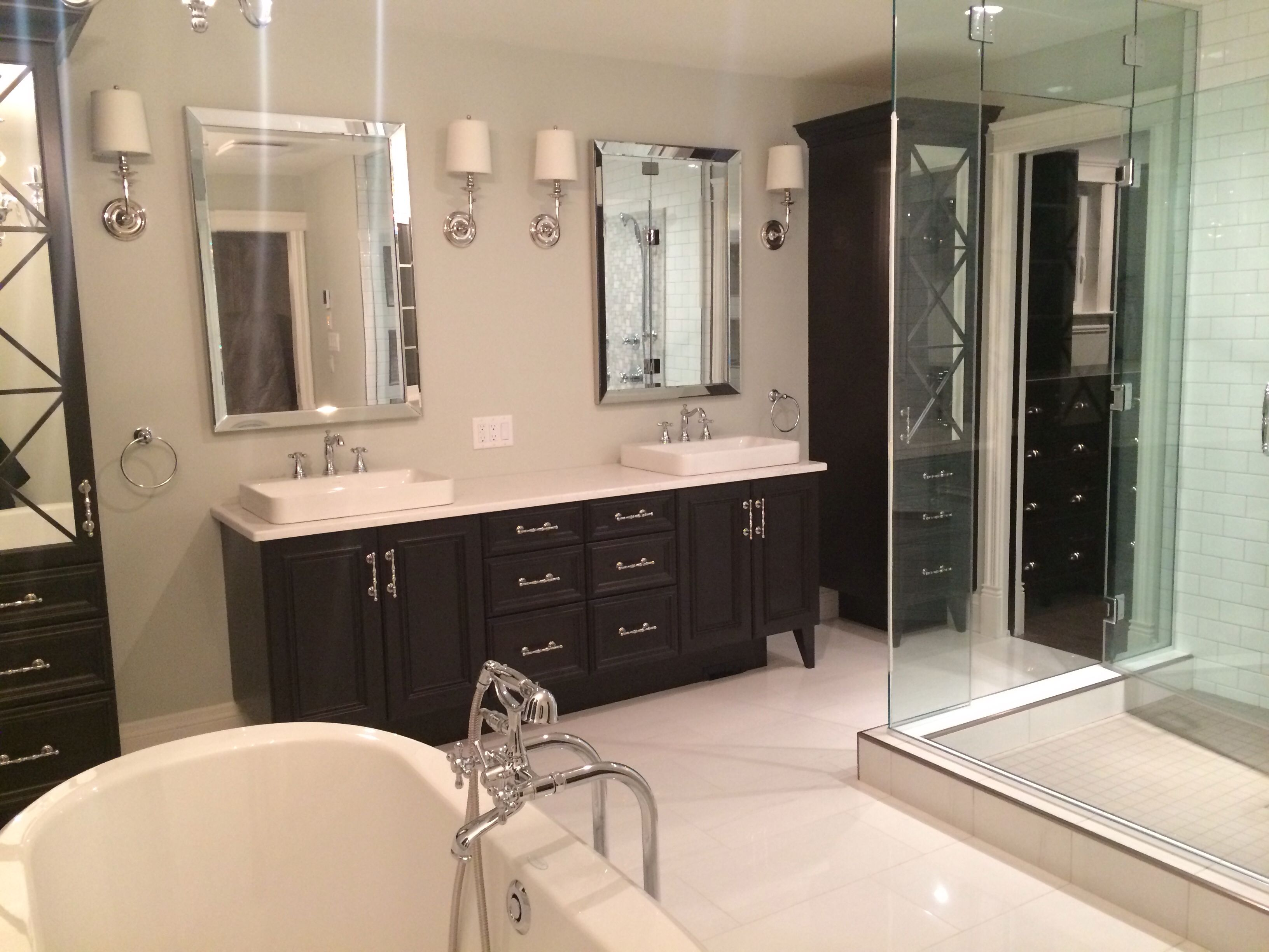 White Master Ensuite With Dark Wood Vanity