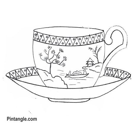 Free Hand Embroidery Pattern Of A Teacup Embroidery Pinterest