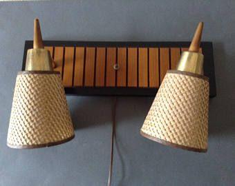 Vintage Mid Century Modern Wall Sconce Danish Teak Wood And Brass