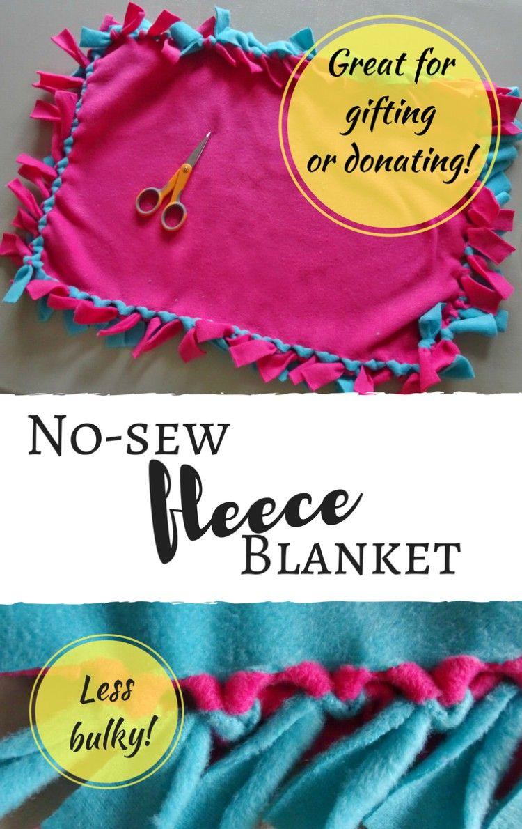 Diy nosew fleece tie blanket tutorial with less bulky
