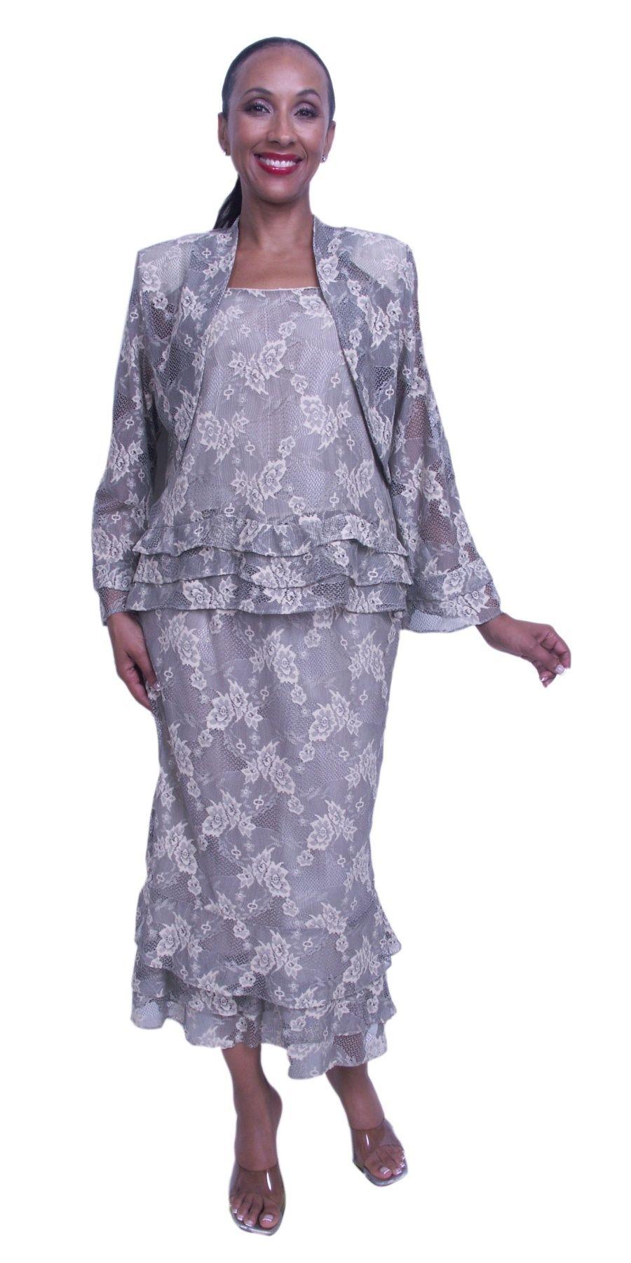 3 Piece Semi Formal Lace Dress Includes Jacket Top Skirt Plus Size