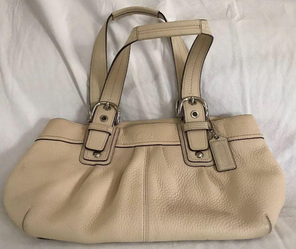 COACH Cream Pebbled Leather Handbag Satchel Bag Zip Purse Silver Hardware  EUC Lg   eBay 892af5fb2c