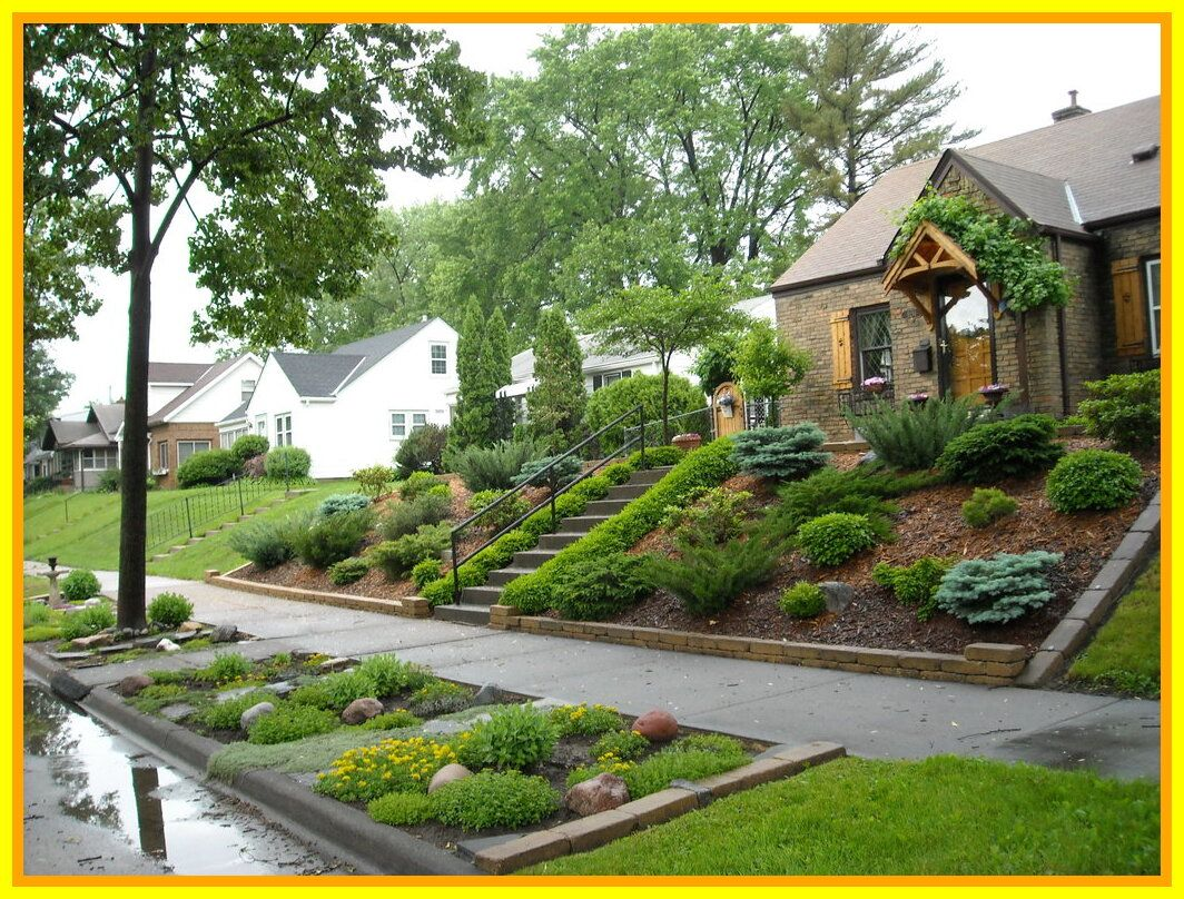 70 Reference Of Small Garden Front House Backyard Hill Landscaping Sloped Backyard Small Front Yard Landscaping