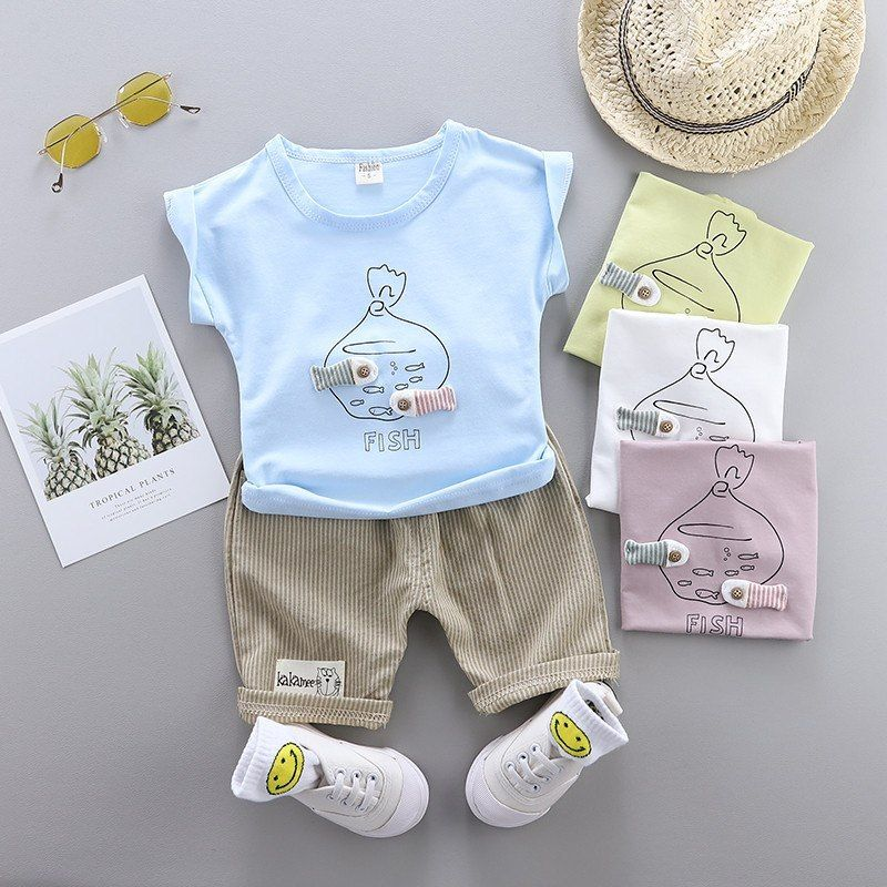 0a639cc9aa487 0-4 years High quality boy girl clothing set 2019 summer new casual ...