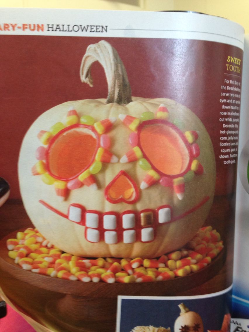 Day of the dead jack o lantern. Candy corn, jelly beans, and chiclets.