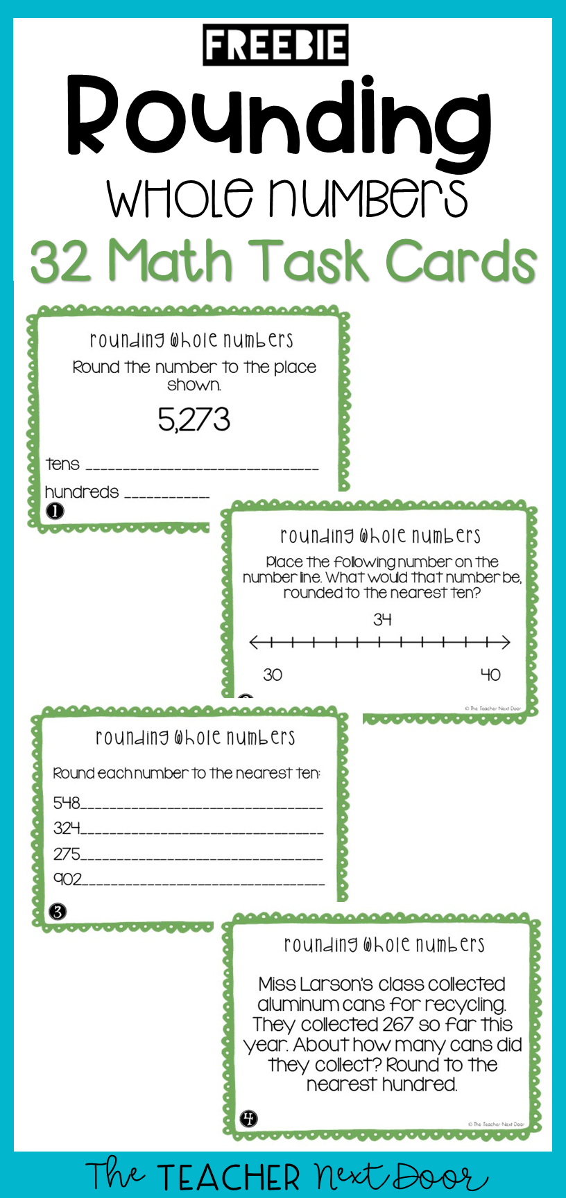 Free Rounding Whole Numbers Task Cards For 3rd Grade Rounding Whole Numbers Rounding Math Centers Math Task Cards [ 1728 x 816 Pixel ]