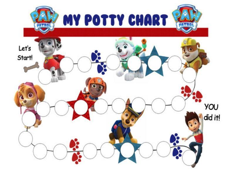 Paw patrol potty chart printable pdf potty training chart