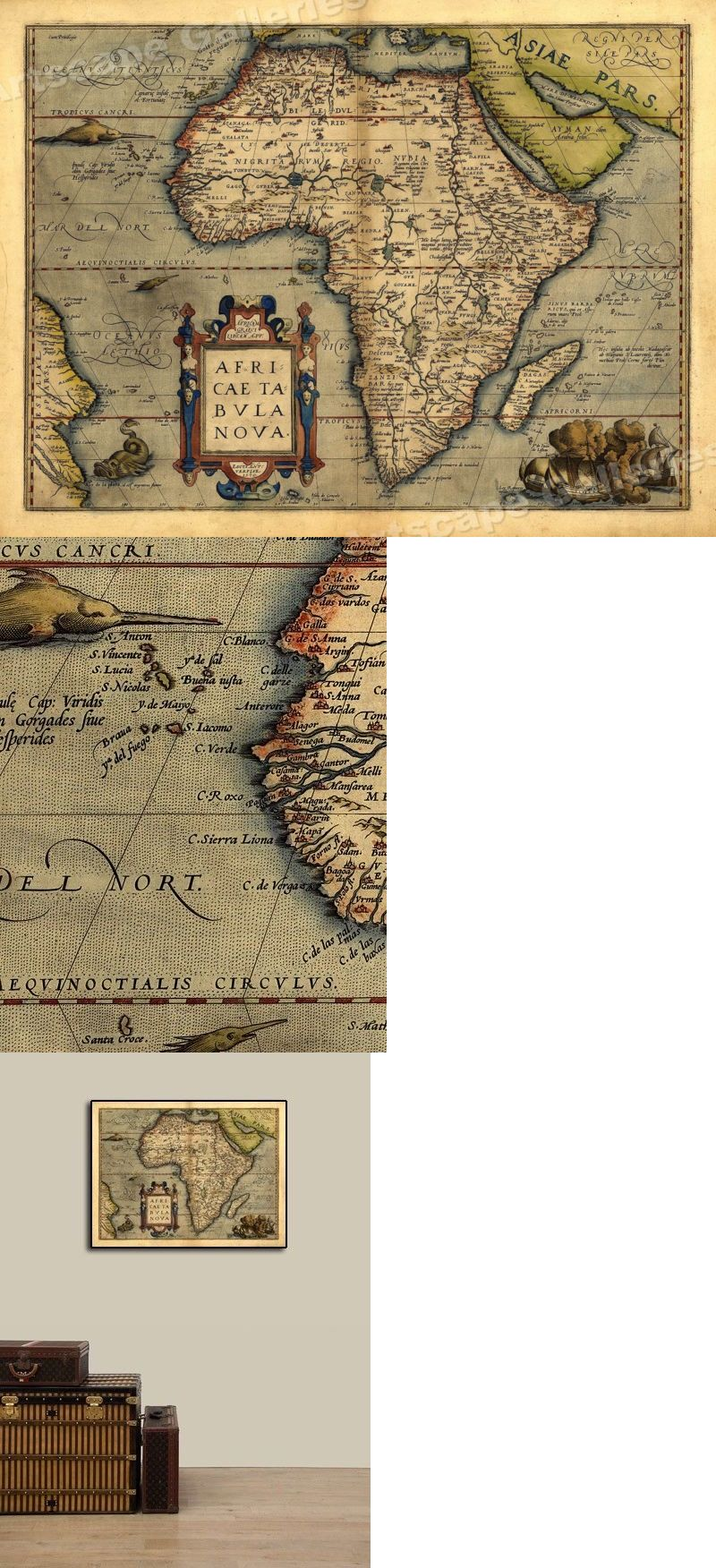 Details About 1570 Orbis Terrarum Africa Historic Vintage Map 18x24 New World Map World Map Vintage World Maps
