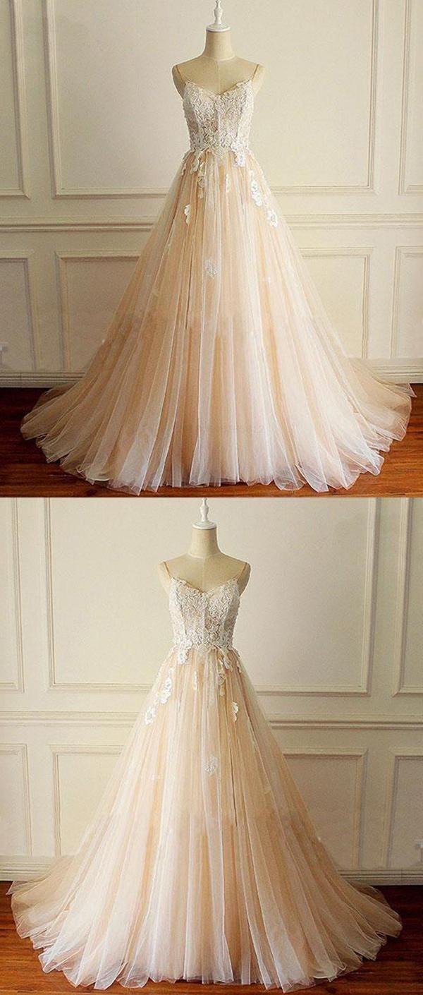 White white lace aline champagne qprom prom dresses