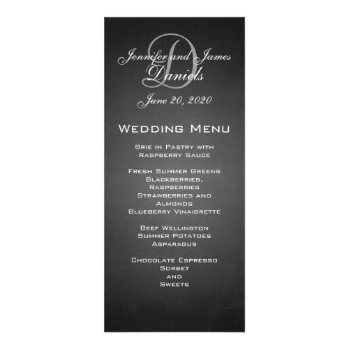 Chalkboard Monogram Wedding Menu Card  Wedding Menu Cards Menu