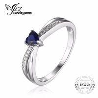 Jewelrypalace liefde-hart 0.38ct gecreëerd saffieren verlovingsring voor vrouwen 925 sterling zilveren sieraden eenvoudige liefde gift
