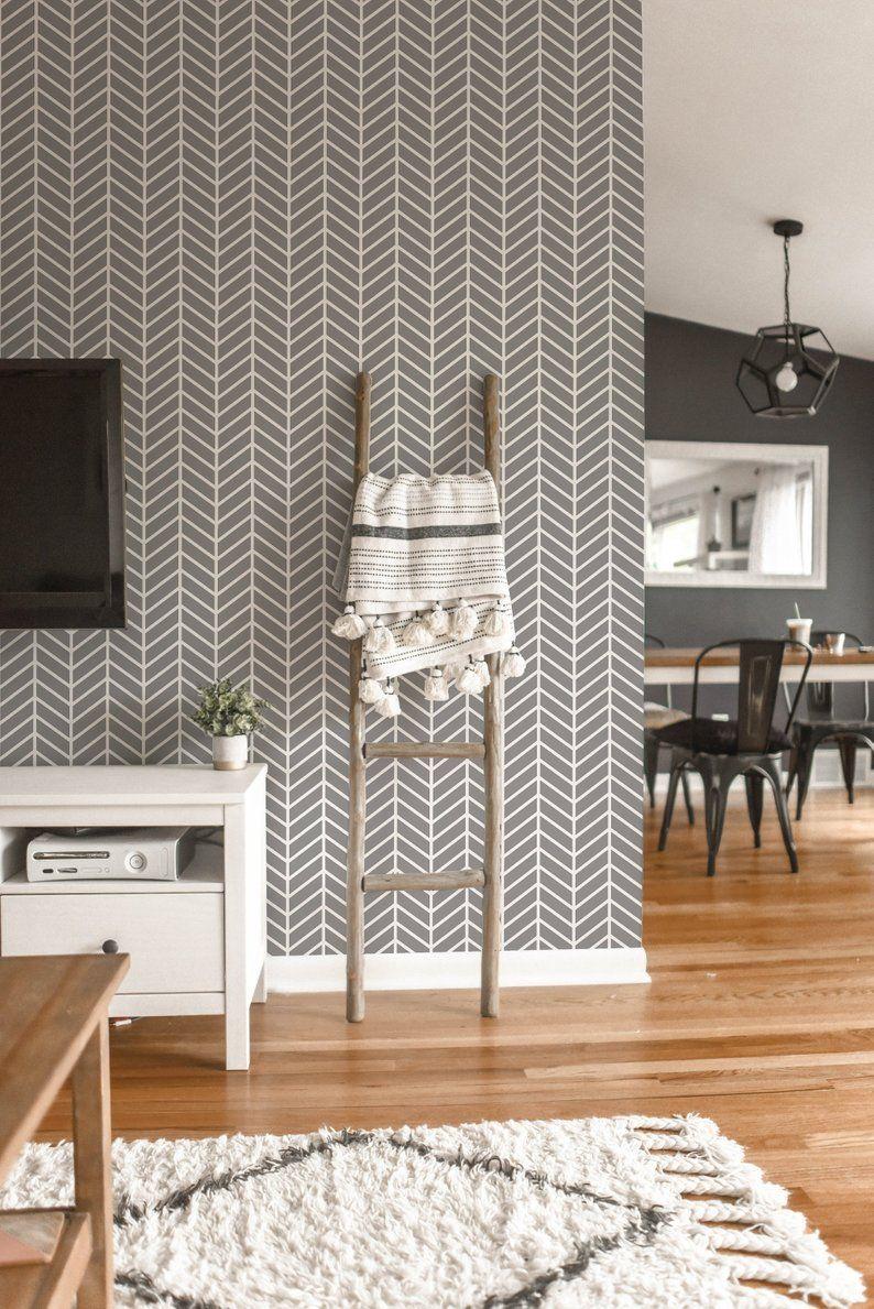 Herringbone Removable Wallpaper Geometric Peel And Stick Etsy Removable Wallpaper Wallpaper Living Room Tile Wallpaper