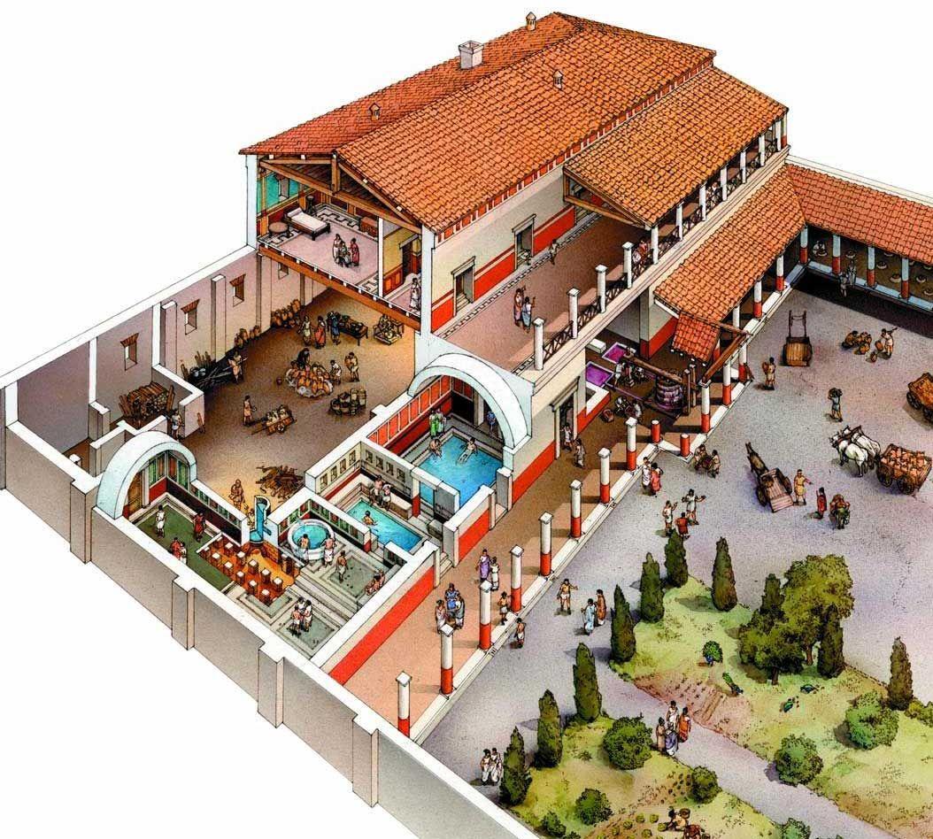 Reconstruction-Villa-Romana-del-Casale.jpg (1054×948)  La Ciudad Antigua  P...