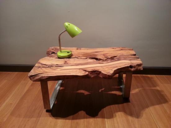 mesa rustica de centro madera maciza de olivo olivoacero inoxidable artesano piso pinterest