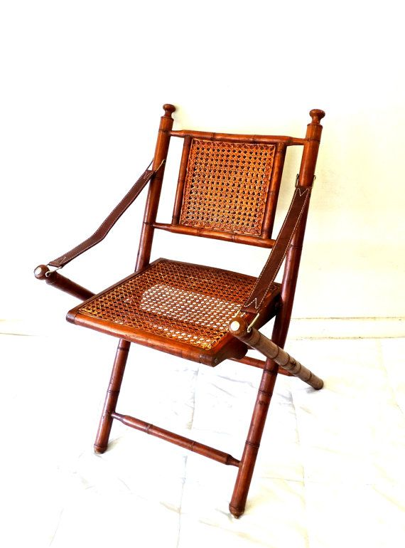 $425 Antique Folding Campaign Chair   1800s Bamboo/caned Leather Campaign  Chair