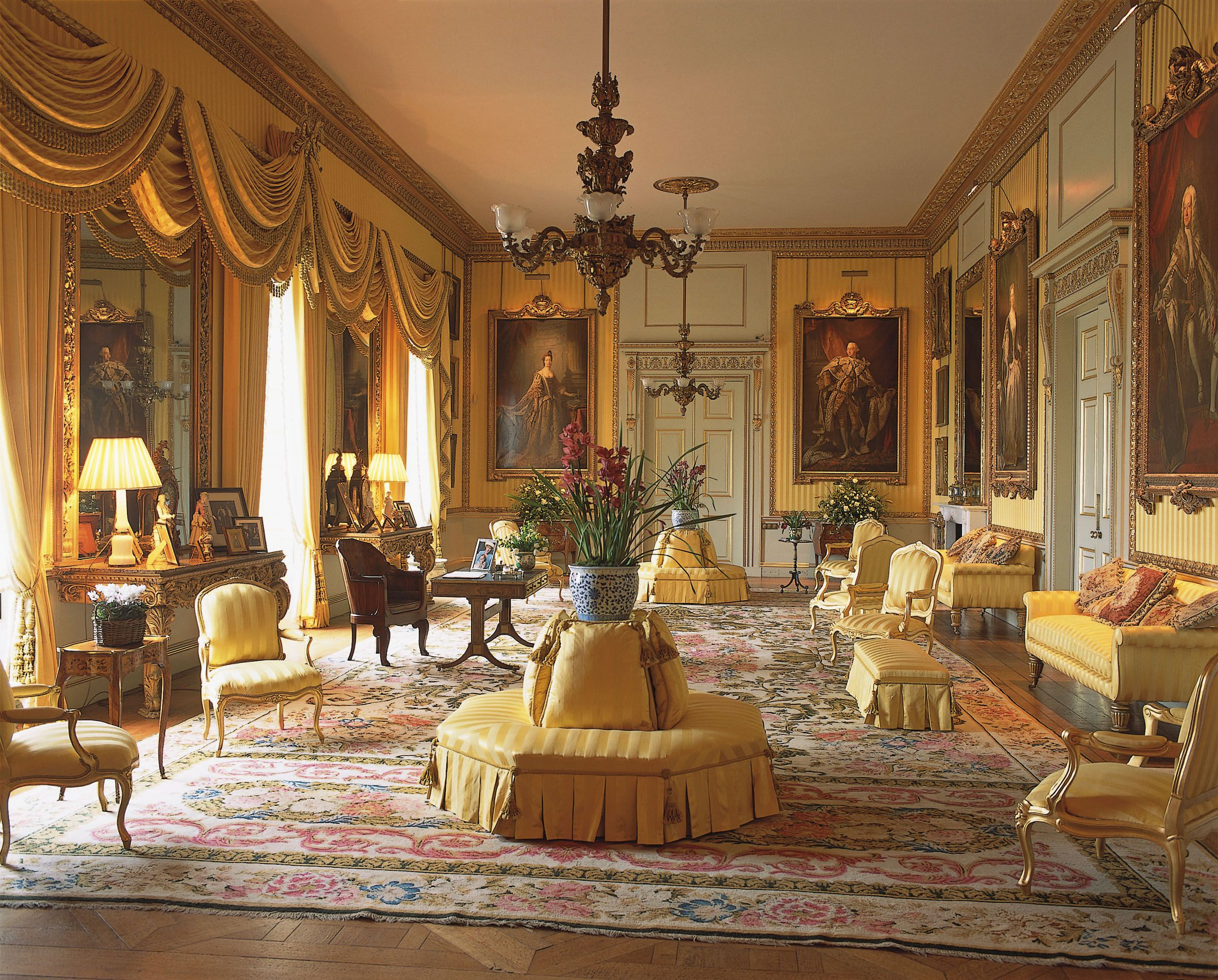 With silk lined walls and royal portraits including one of Lady ...