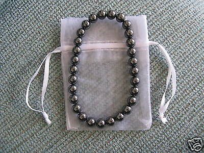 "New Natural Shiny Grey Hematite 6mm Beaded Bracelet 7"" | eBay"