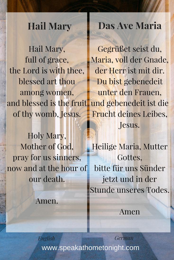 Hail Mary In German Pray In German Ave Maria Germandeutsch