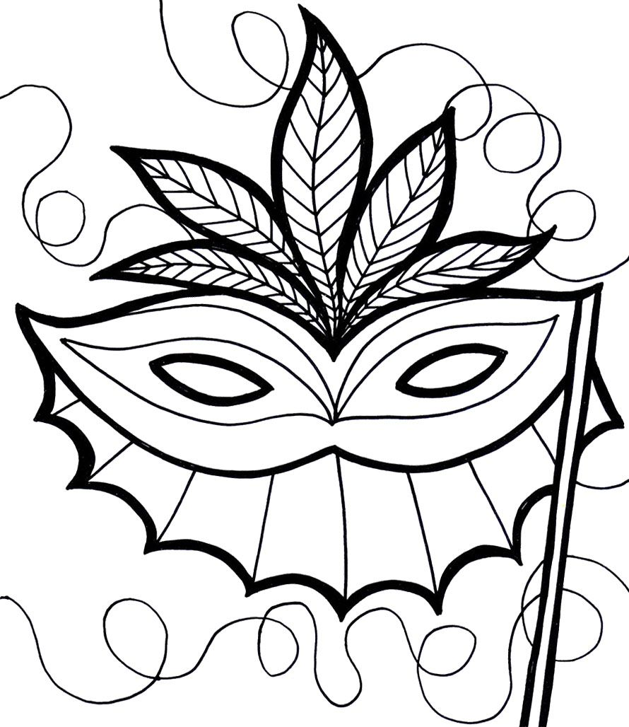 Mardi Gras Mask Coloring Pages For Kids With Images Coloring Mask