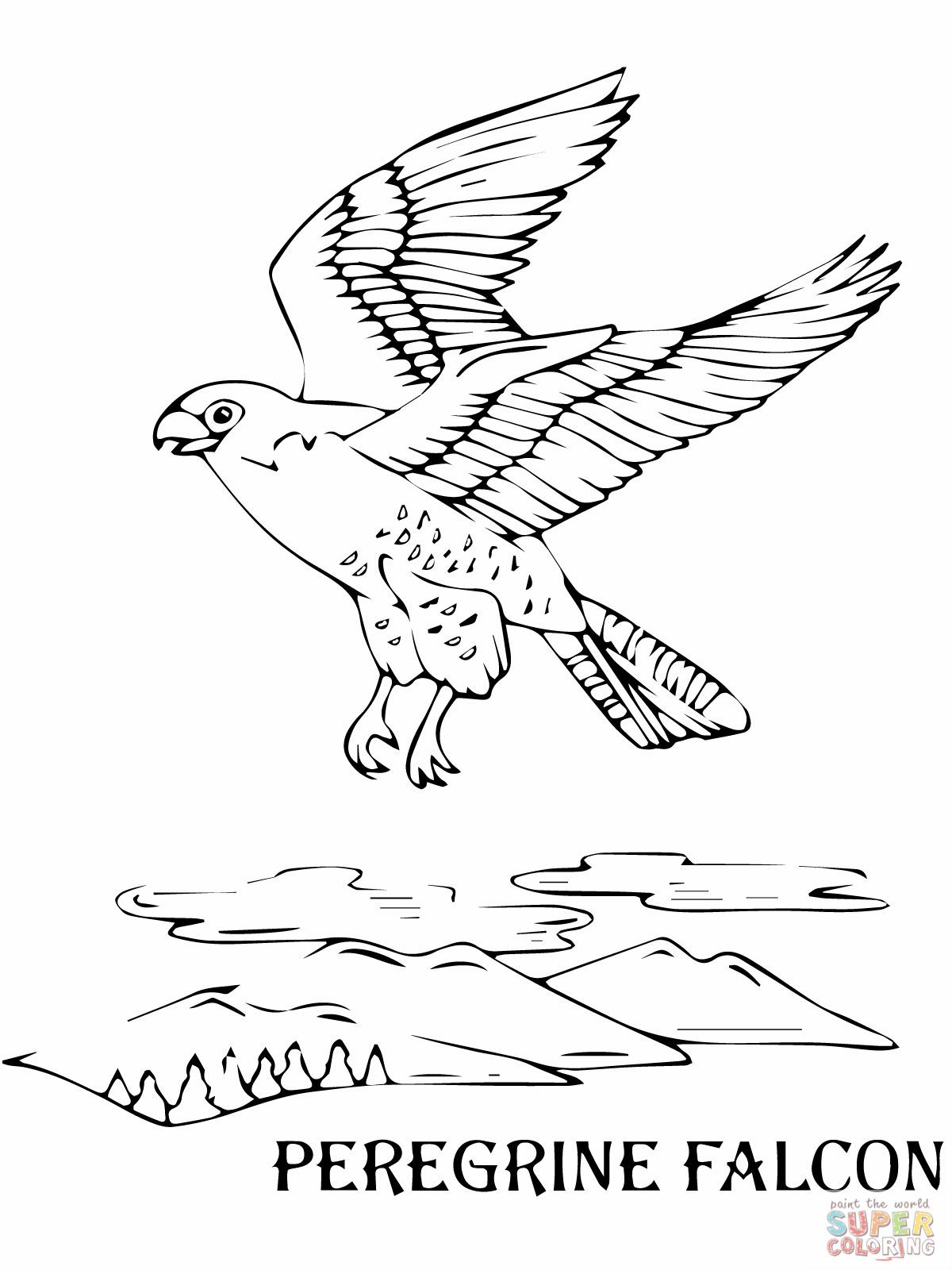 Flying Peregrine Falcon Coloring Online Bird coloring