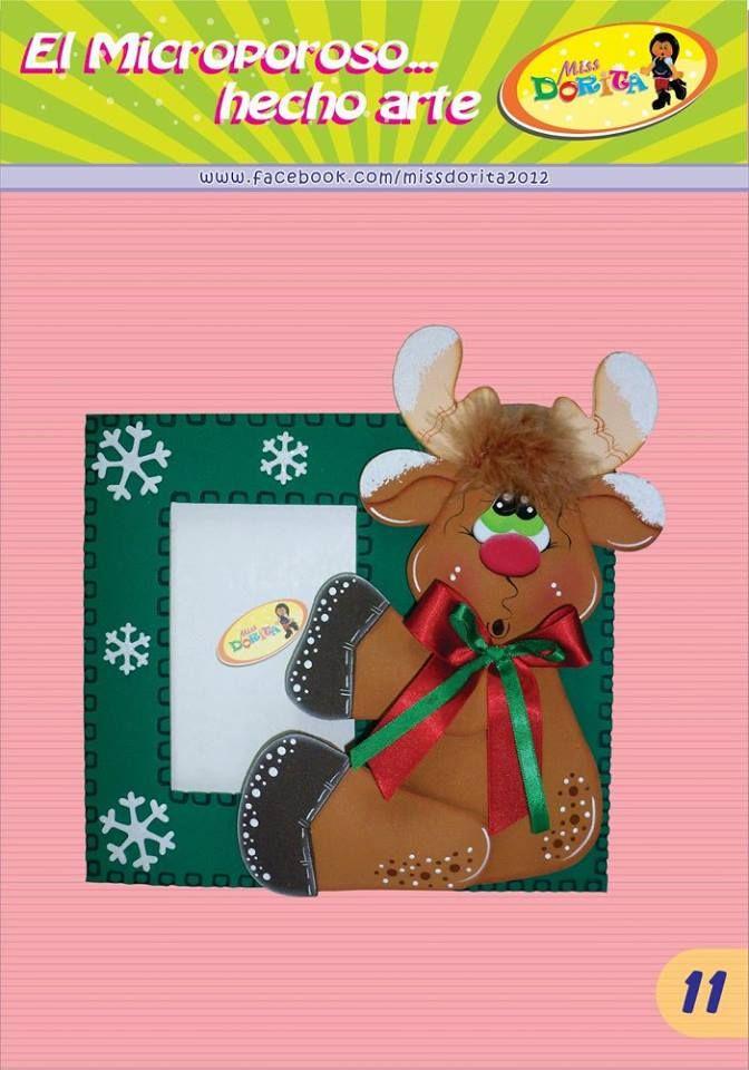 Proyecto 11 reno en marco de foto foami navidad for Manualidades renos navidenos