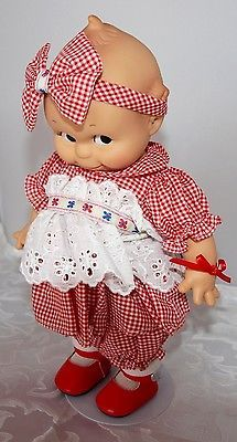 Effanbee-Kewpie-doll-Jasco-1987-red-Gingham-dress-with-Stand