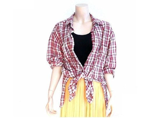 SONIA RYKIEL French Vintage 80s Maxi Checkered Blouse by bOmode, $69.00