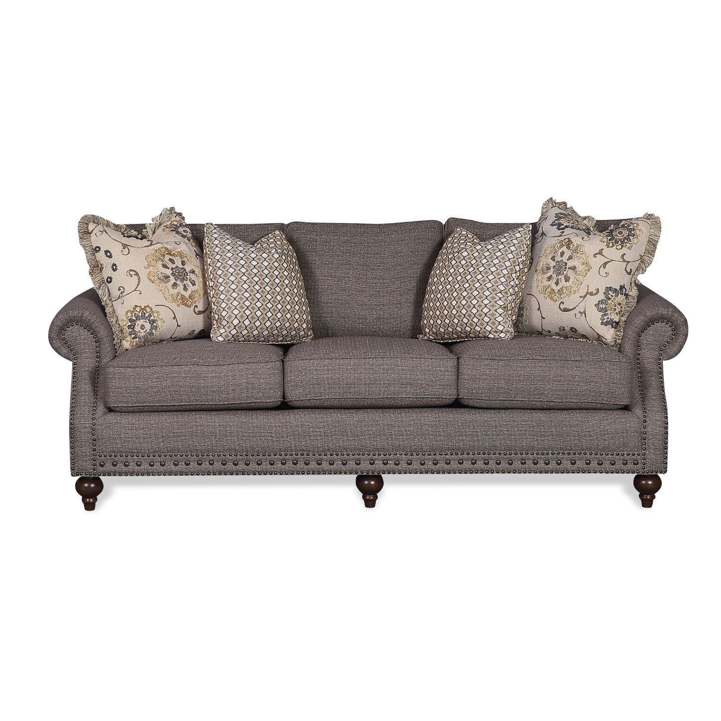 Chelsea Pewter Upholstered New Traditional Sofa Mcnair