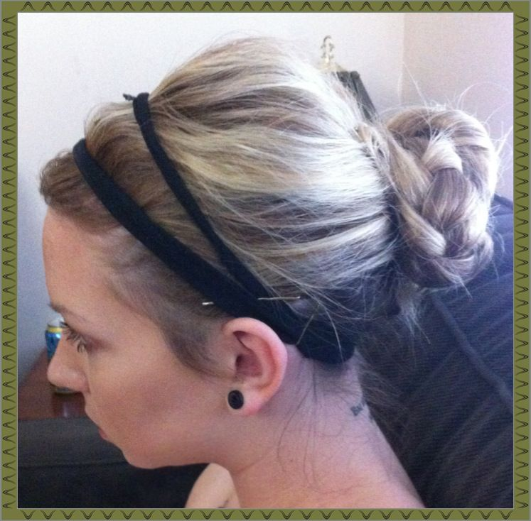 Easy updo. Pull into loose pony tail Part pony and braid each strand Take one braid and circle it around the elastic, pin it Take the other braid and circle the elastic in the opposite direction, pin it Hair spray it Put head band on (optional)