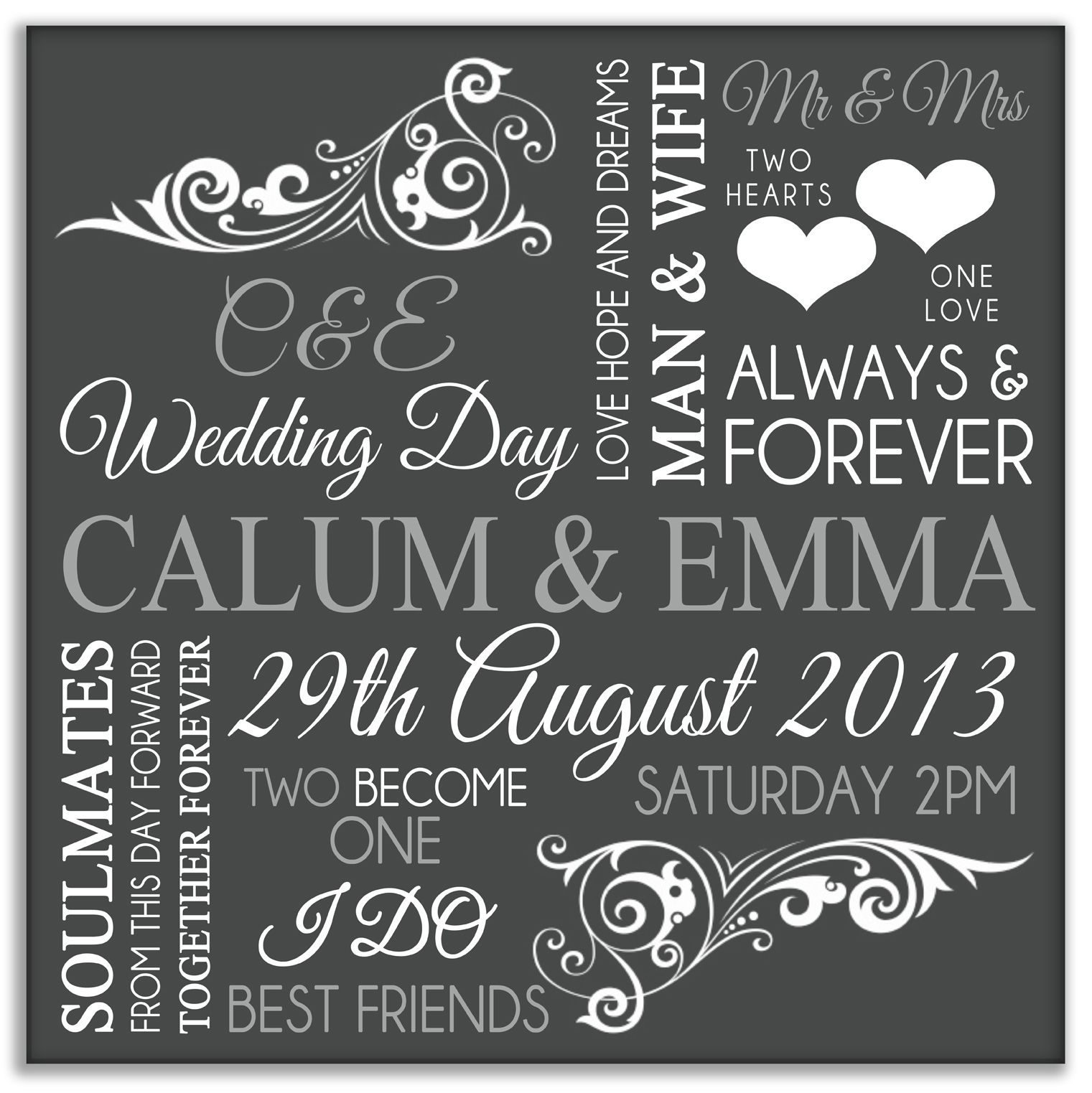 Personalised Wedding Gift In Dark Grey Jpg 1521 1523 Ideas For The House Pinterest