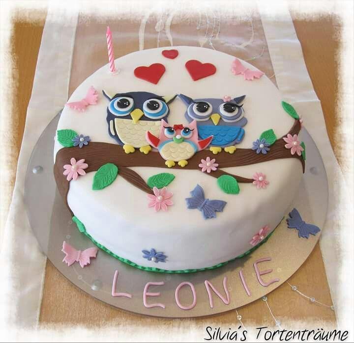Silvia's Tortenträume: Eulen Eulen Paar Torte Cake Kuchen