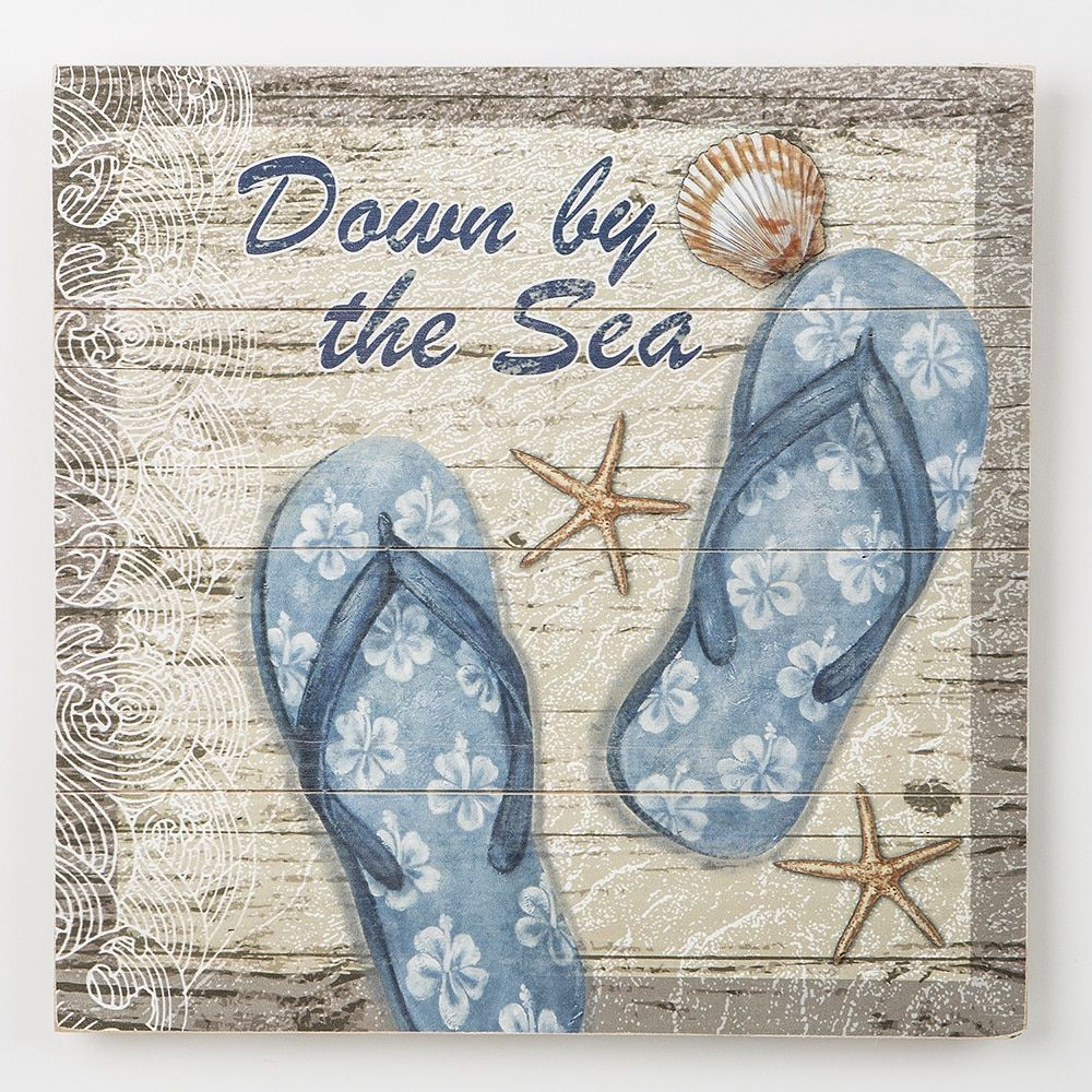 Down by the sea flip flops wood wall plaque products