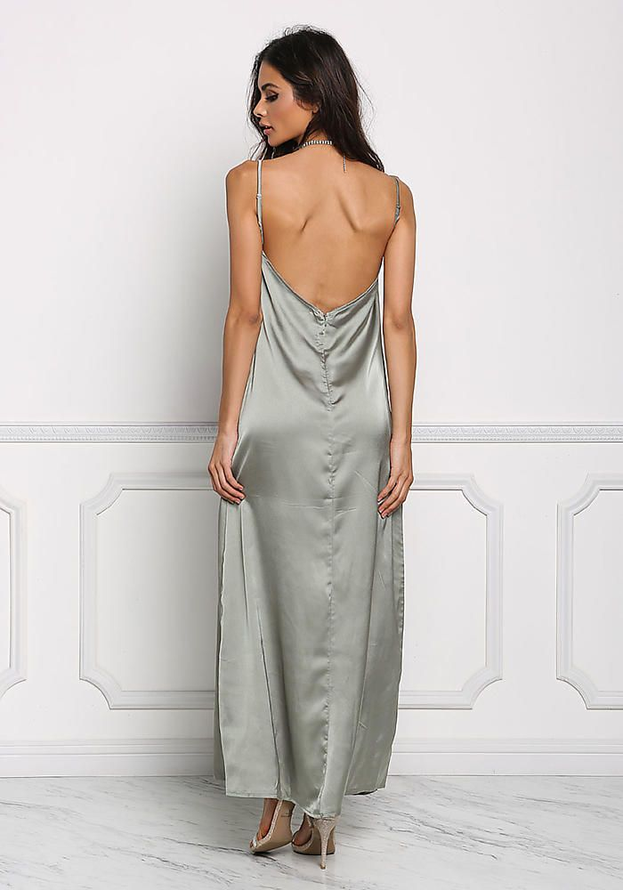 322e685f95 Sage Satin Low Back Slip Maxi Dress
