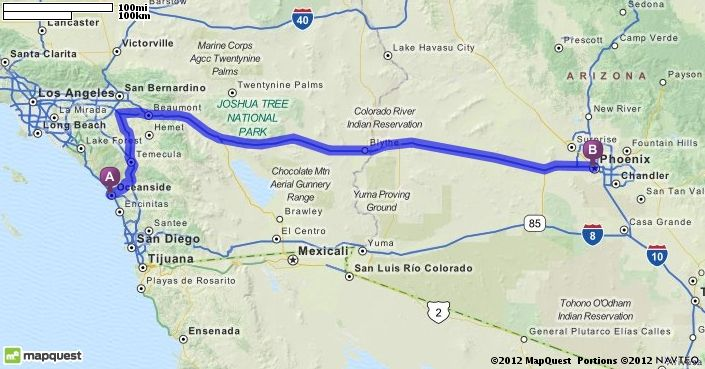 Mapquest Arizona.Driving Directions From Oceanside California To Phoenix Arizona