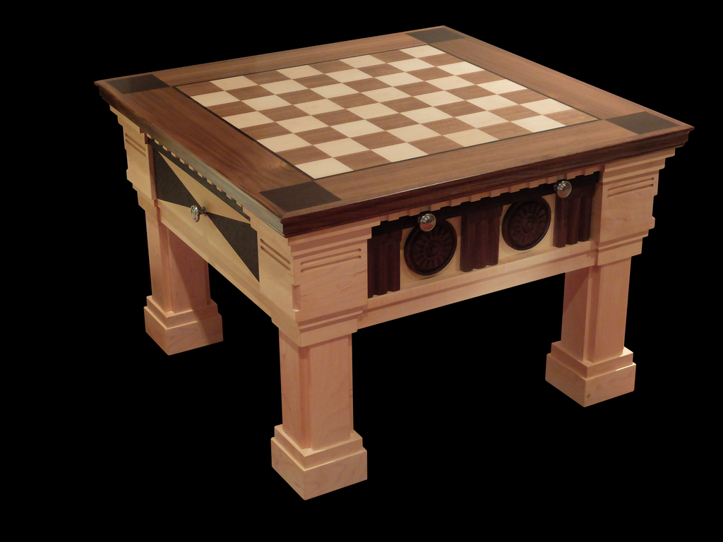 Hard Maple Chess table designed and built in Canada. 100% hand made. Comes in 4 species of wood.