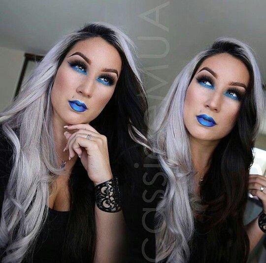 Half gray half black dyed hair trend