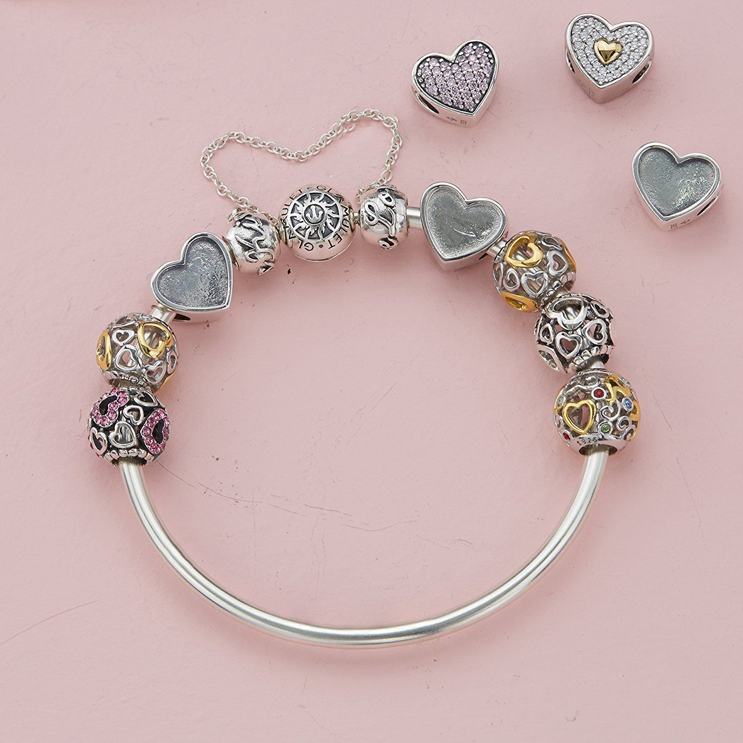 Glamulet gold love hollow charms sterling silver heart shape