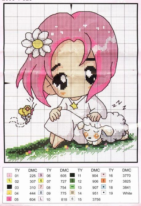 Schema punto croce Bimba Pecorella