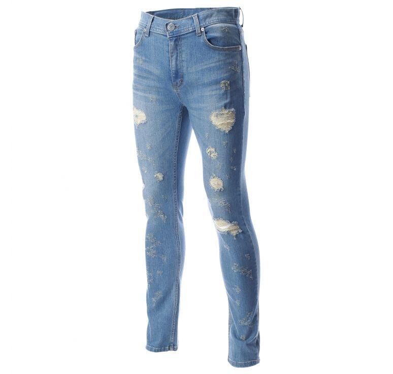 Mens Destroyed Regular Straight Leg Denim Ripped Jeans Pants ...