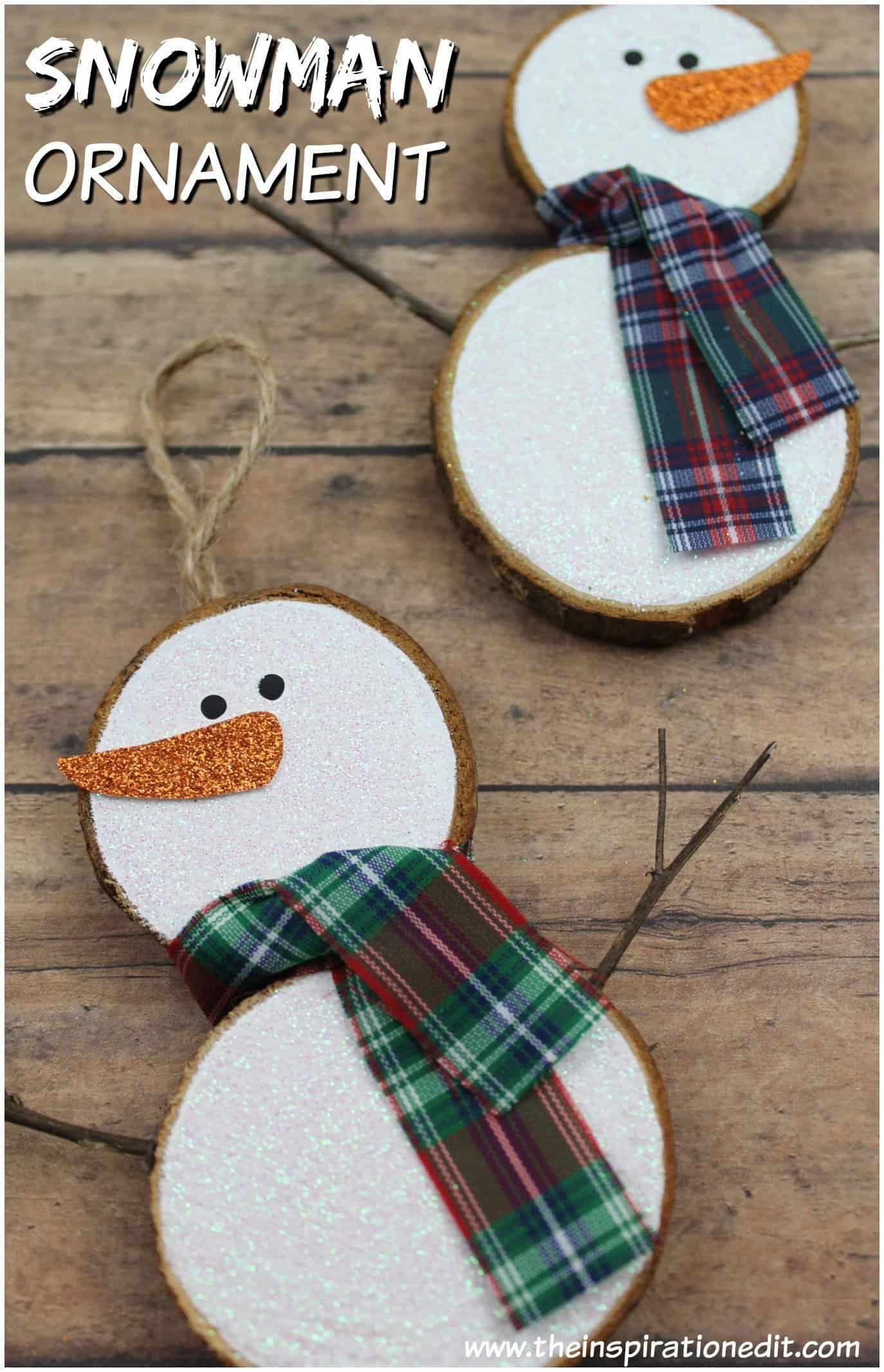 Easy Rustic Snowman Ornament Christmas Crafts Snowman Crafts Christmas Ornaments