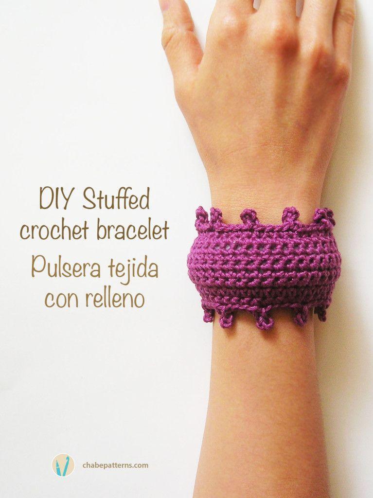 DIY stuffed crochet bracelet, free pattern/ Pulsera tejida con ...