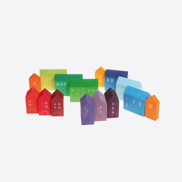 Beautiful set for a little city planner: Create modern cities and villages with barns and churches. And perfect for every wooden train and rail set. Materials: