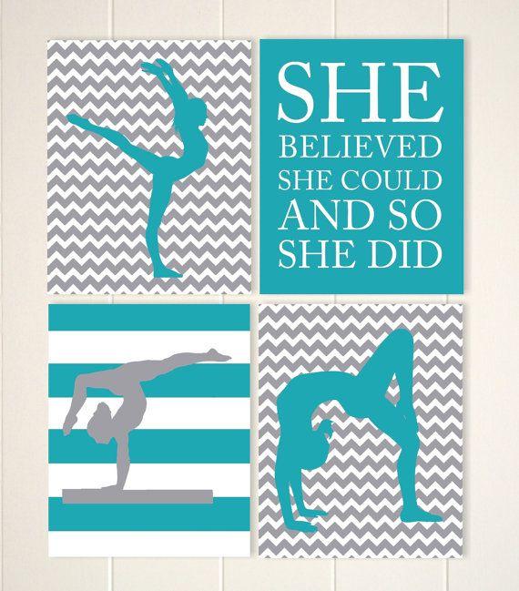 gymnastics room decor gymnast girl wall art girls wall art teen girls gift idea girls motivational art sports art set of 4 prints